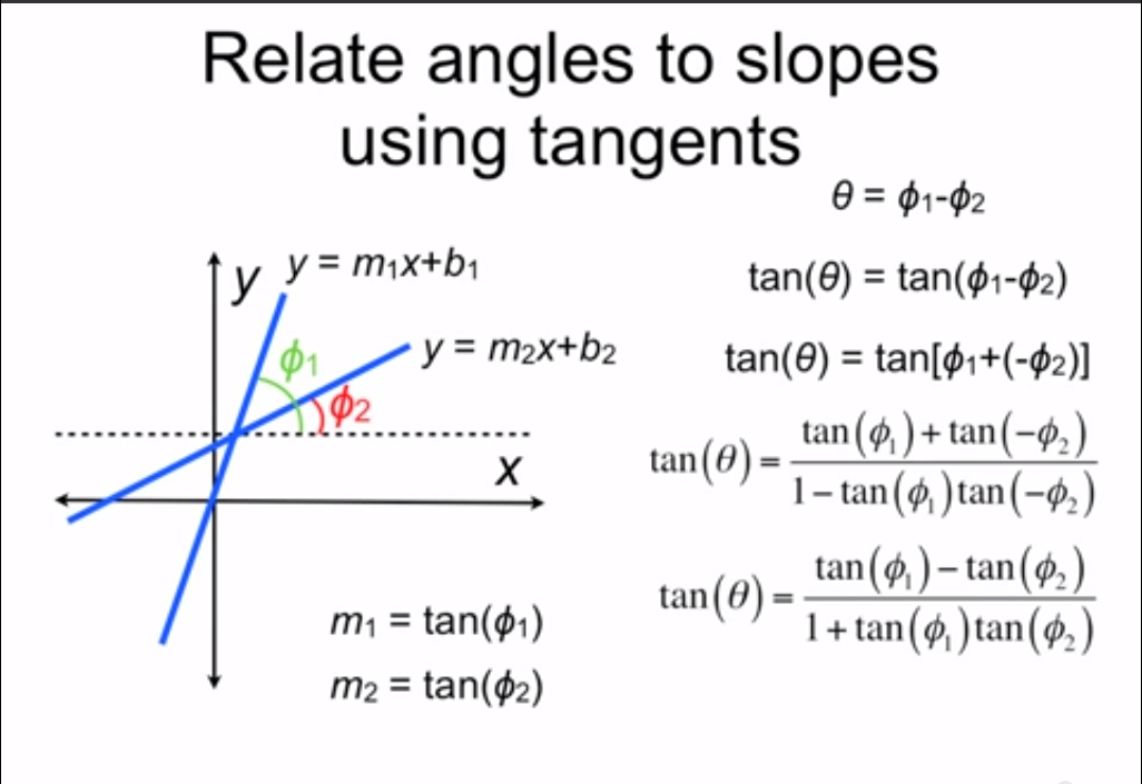 Calculate angles between two intersecting lines using the slopes ...