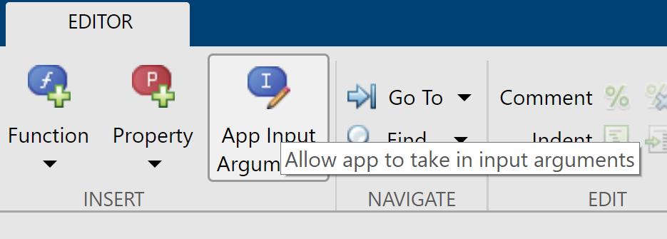 editor bar, app input argument