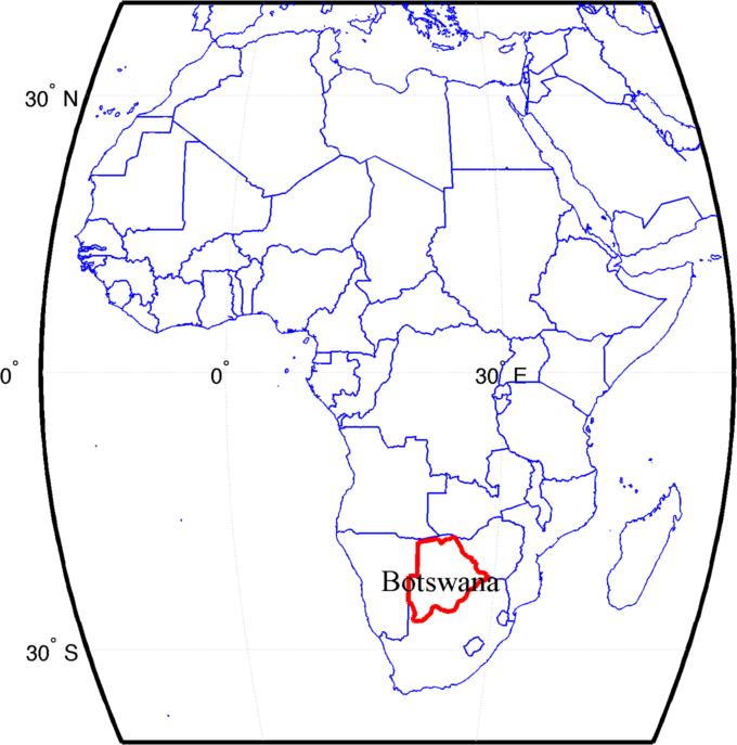 worldmapafrica initializes a map borderscountries outlines all countries bordersbotswanar linewidth2 outlines botswana in red