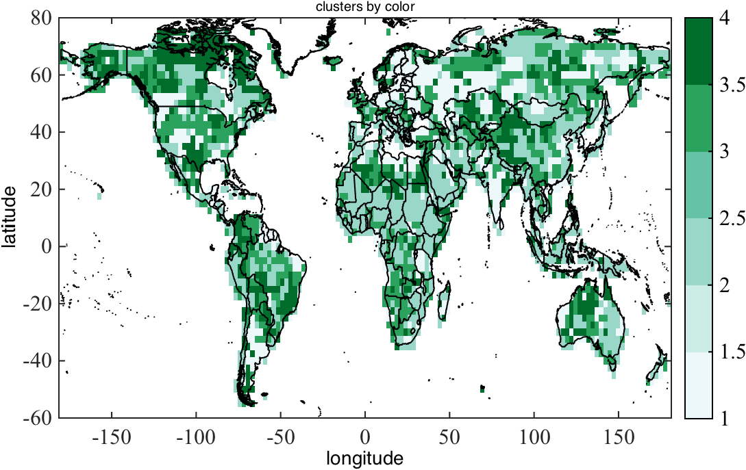 Superimposing of the boundaries of world countries on a map matlab h1imagesclinspace 180180144linspace 607555var seth1alphadataisnanvar caxis1 4 colormapbrewermap6bugn gumiabroncs Choice Image