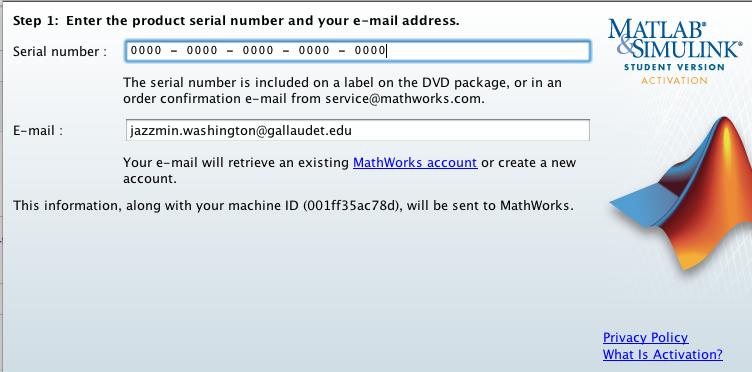 license number matlab r2016a