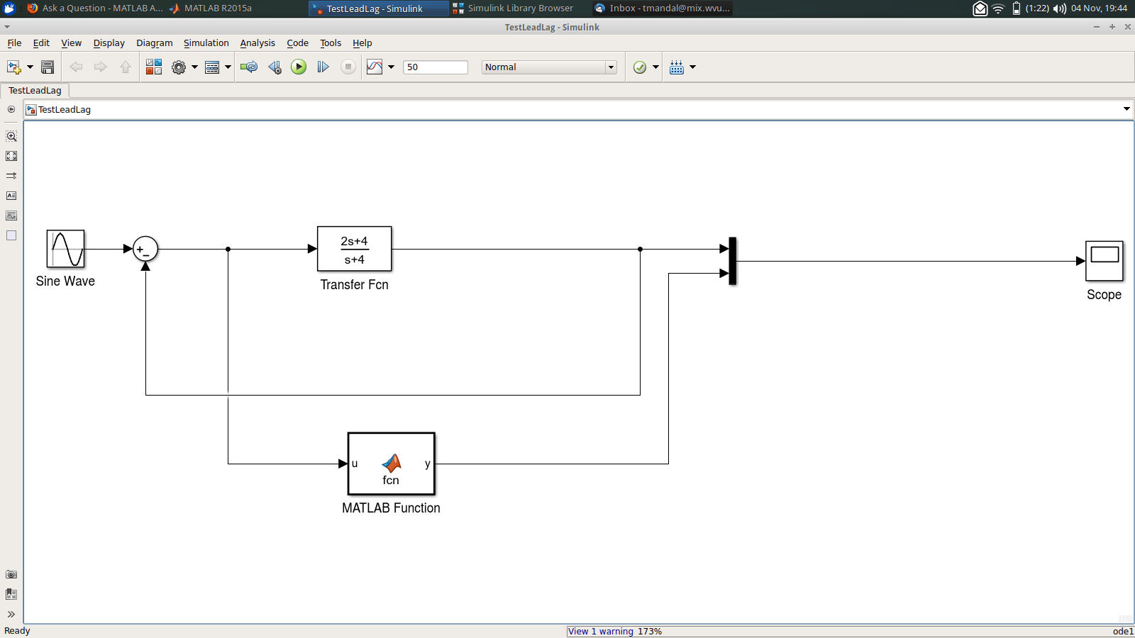 how does simulink simulate transfer function? matlab answers transfer function single block user defined function in simulink to calculate my output of the transfer function, i am usimg x(t)=x(t 1) dt*(a*x(t 1) b*u(t)) and then y=c*x(t) d*u(t)