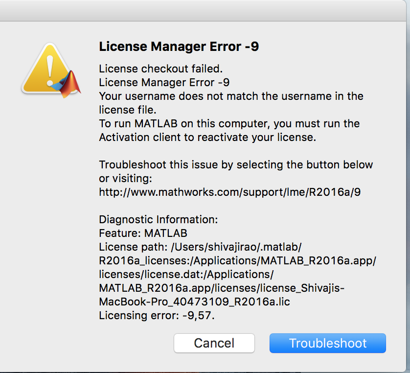 Why do I receive License Manager Error -9? - MATLAB Answers - MATLAB ...
