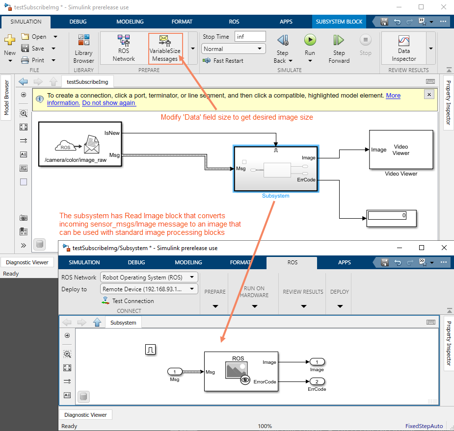 Read Image message in Simulink