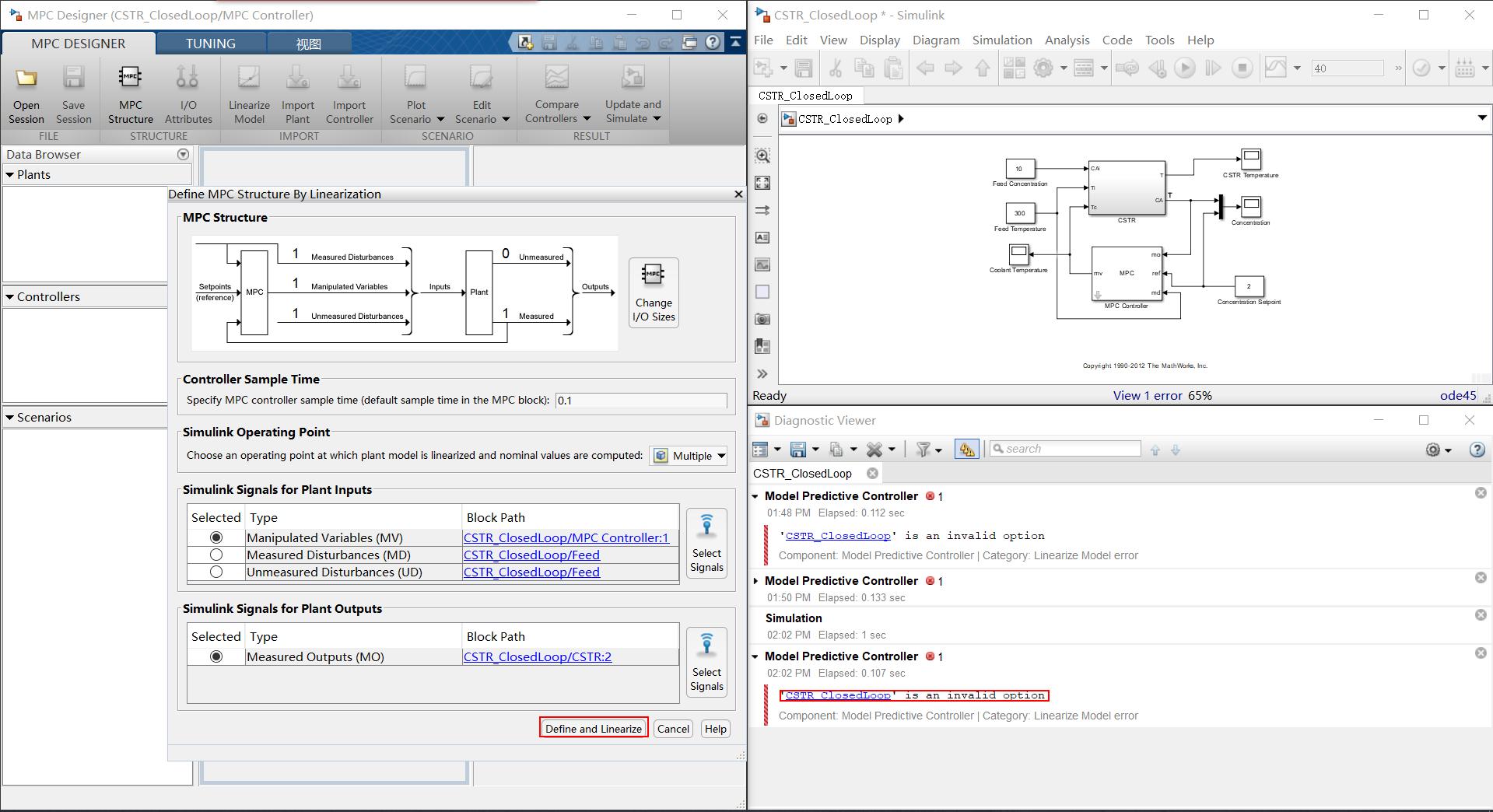 mpc toolbox problem: \'CSTR_ClosedLoop\' is an invalid option - MATLAB ...