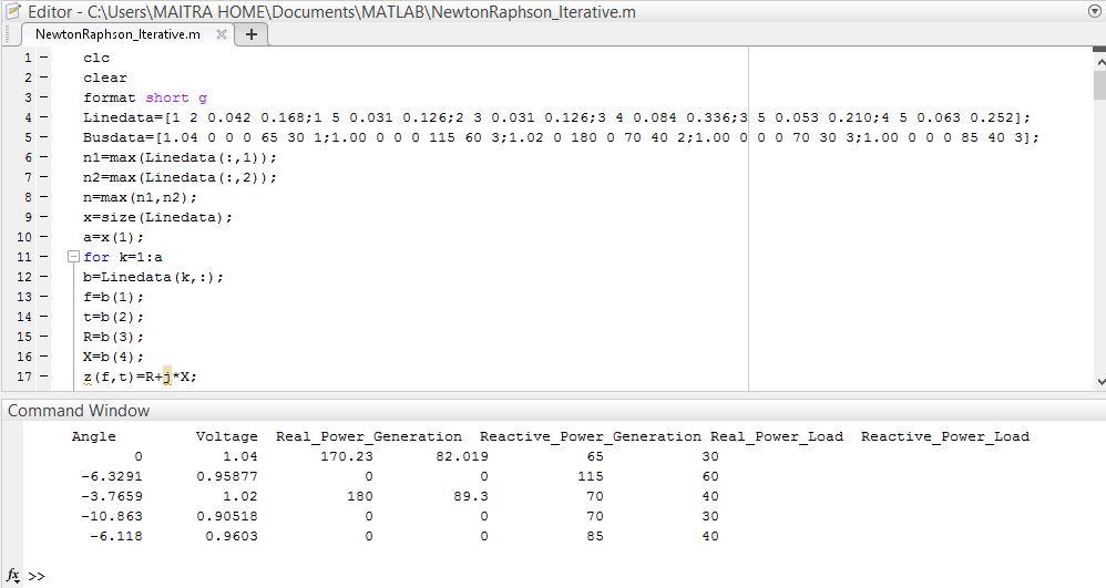 Newton Raphson Iterrative Method For Load Flow Study - File Exchange