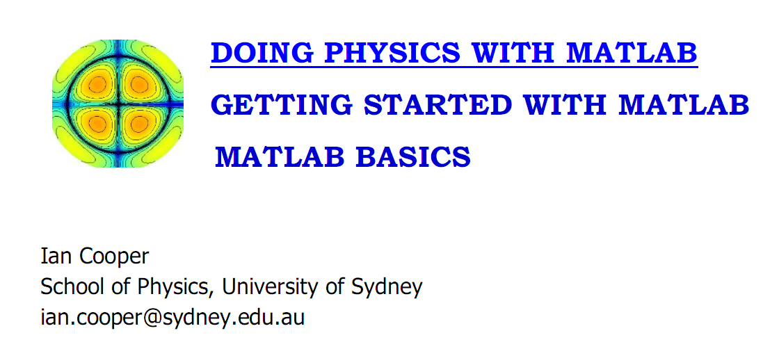 DOING PHYSICS WITH MATLAB - File Exchange - MATLAB Central