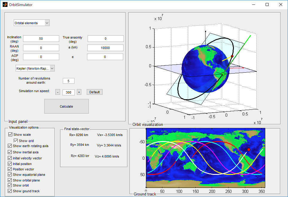 3-D orbit simulator with ground track - File Exchange - MATLAB Central