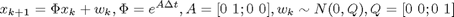 $$x_{k+1} = \Phi x_k + w_k, \Phi = e^{A\Delta t}, A=[0\,\, 1; 0\,\, 0], w_k \sim N(0,Q), Q =[0\,\, 0; 0\,\, 1]$$