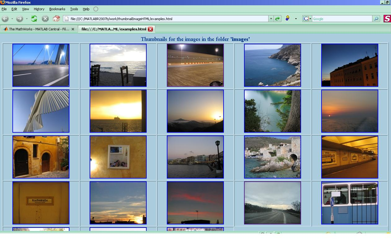 Generate HTML Table with thumbnails from jpg images File