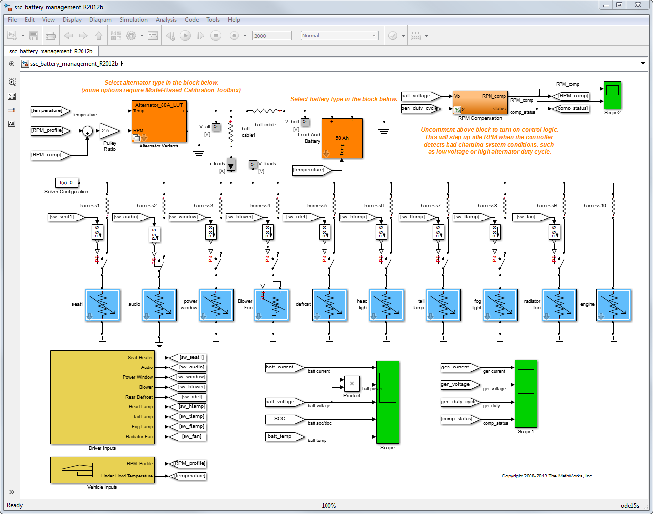 Automotive Electrical System Simulation and Control - File Exchange