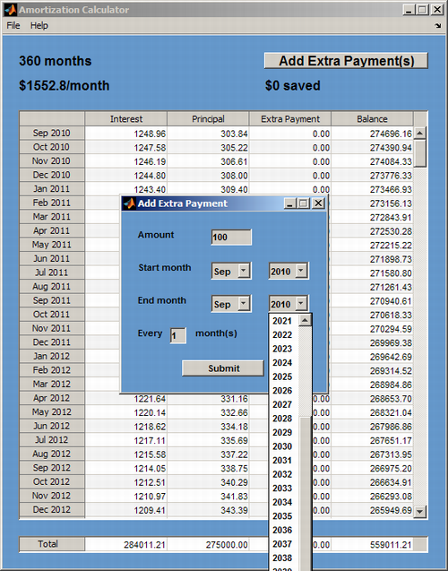 mortgage amortization calculator file exchange matlab central