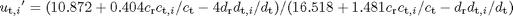 $${u_{\mathrm{t},i}}' = (10.872 + 0.404 c_{\mathrm{r}}c_{\mathrm{t},i}/c_{\mathrm{t}} - 4d_{\mathrm{r}}d_{\mathrm{t},i}/d_{\mathrm{t}}) / (16.518 + 1.481c_{\mathrm{r}}c_{\mathrm{t},i}/c_{\mathrm{t}} - d_{\mathrm{r}}d_{\mathrm{t},i}/d_{\mathrm{t}})$$