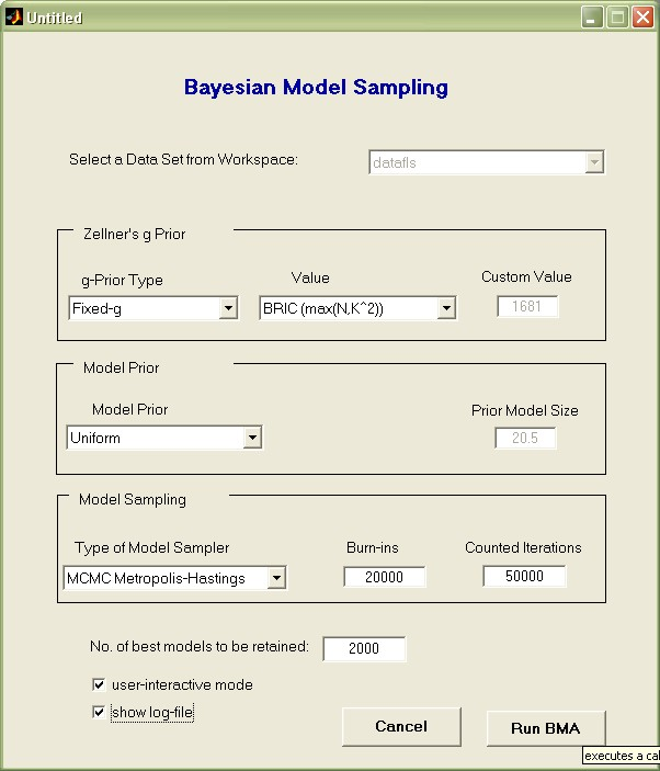 BMS toolbox for Matlab: Bayesian Model Averaging (BMA) - File
