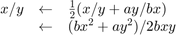 $\begin{array}{rcl}    x/y &\leftarrow& \frac{1}{2}(x/y+a y/b x) \\    & \leftarrow & (b x^2 + a y^2)/2 b x y \end{array}$