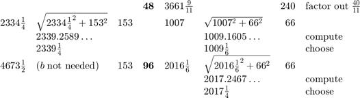 $\begin{array}{lllcllrl}  && & \mathbf{48}    & 3661\frac{9}{11} && 240 & \mbox{factor out}\;\frac{40}{11} \\    2334\frac{1}{4} & \sqrt{2334\frac{1}{4}^2+153^2} & 153    && 1007 & \sqrt{1007^2+66^2} & 66                            \\    & 2339.2589\ldots &&&& 1009.1605\ldots && \rm compute        \\    & 2339\frac{1}{4} &&&& 1009\frac{1}{6} && \rm choose         \\   4673\frac{1}{2} & (b\;\mbox{not needed}) & 153 & \mathbf{96}     & 2016\frac{1}{6} & \sqrt{2016\frac{1}{6}^2+66^2} & 66      \\     &&&&& 2017.2467\ldots && \rm compute                        \\     &&&&& 2017\frac{1}{4} &&  \rm choose \end{array}$