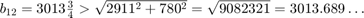 $b_{12}=3013\frac{3}{4}                            > \sqrt{2911^2+780^2}                            = \sqrt{9082321}                            = 3013.689\ldots$