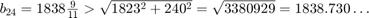 $b_{24}=1838\frac{9}{11}                            > \sqrt{1823^2+240^2}                            = \sqrt{3380929}                            = 1838.730\ldots$