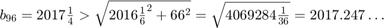 $b_{96}=2017\frac{1}{4}                            > \sqrt{2016\frac{1}{6}^2+66^2}                            = \sqrt{4069284\frac{1}{36}}                            = 2017.247\ldots$