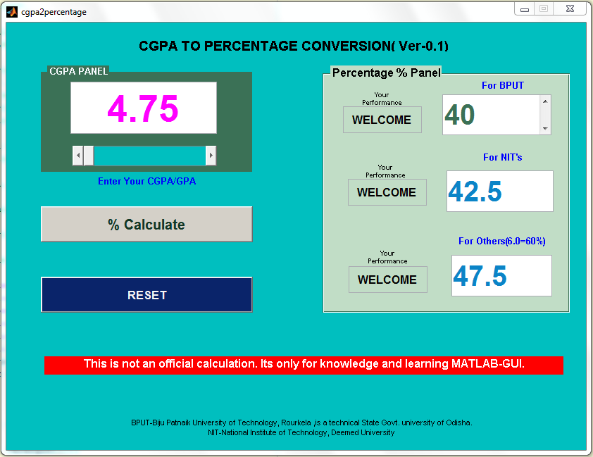 CGPA to PERCENTAGE CONVERSION GUI - File Exchange - MATLAB Central