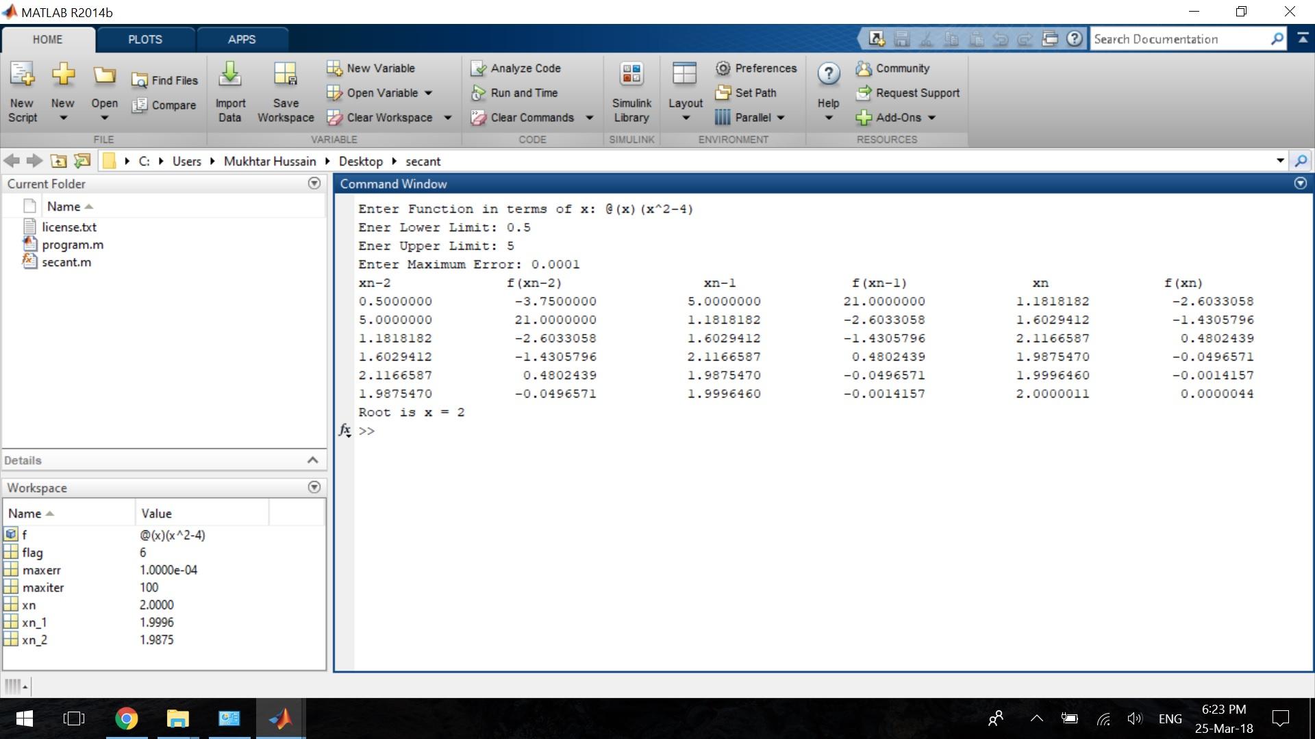 Secant Method - File Exchange - MATLAB Central
