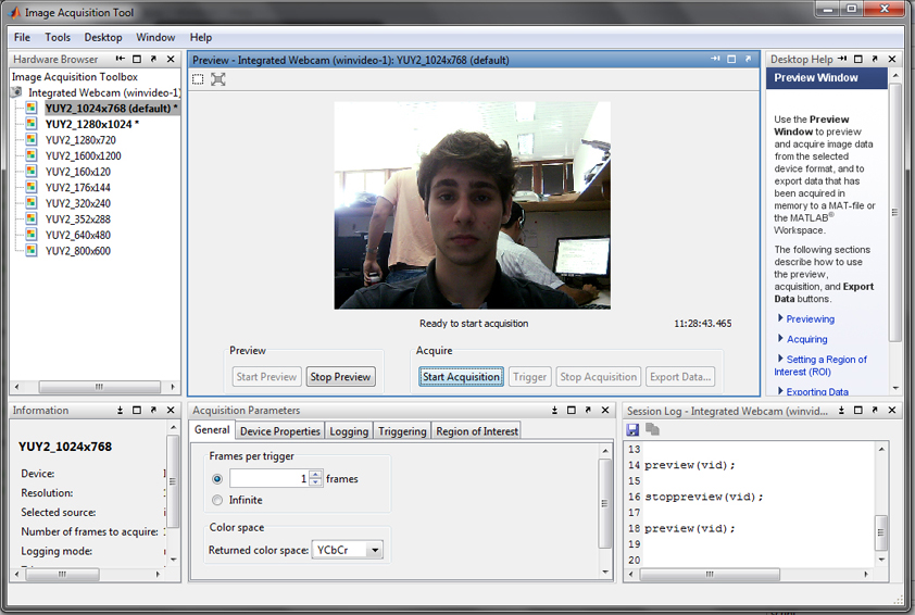 Video Adaptor device (webcam) setup for MATLAB - File Exchange