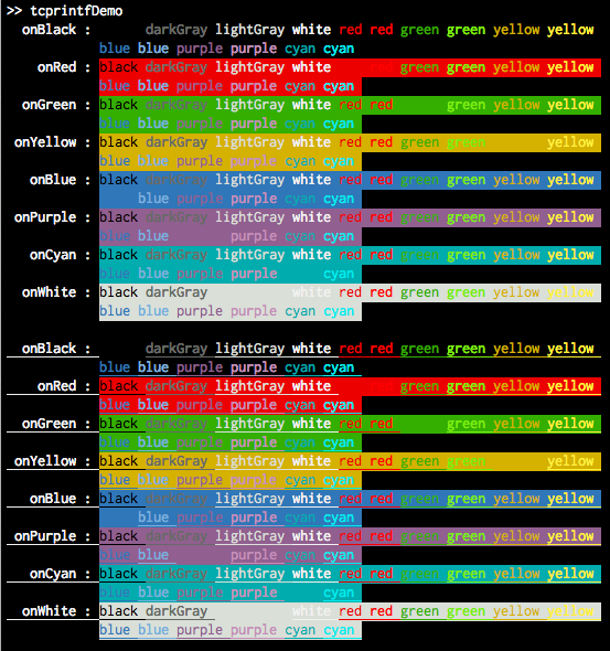 tcprintf : ANSI colored output in terminal - File Exchange