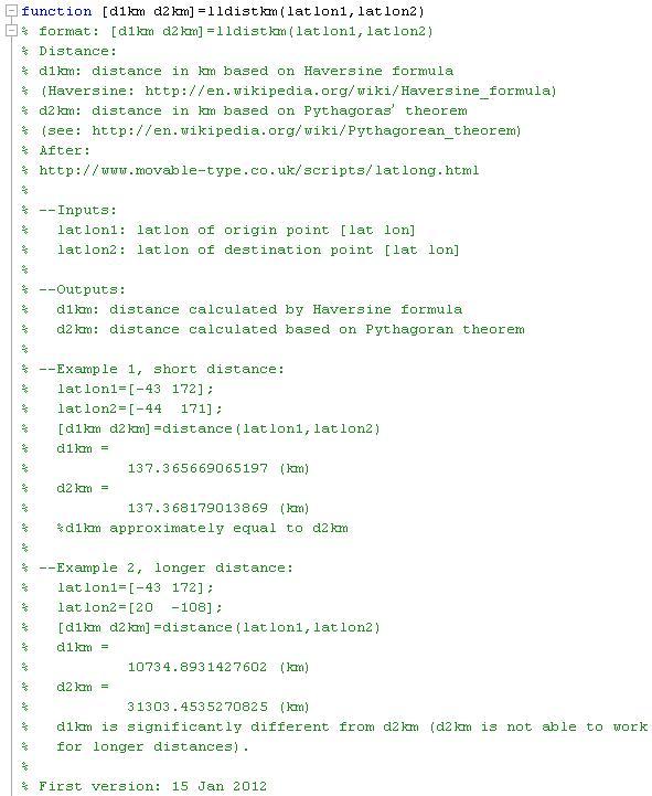 LatLon distance - File Exchange - MATLAB Central