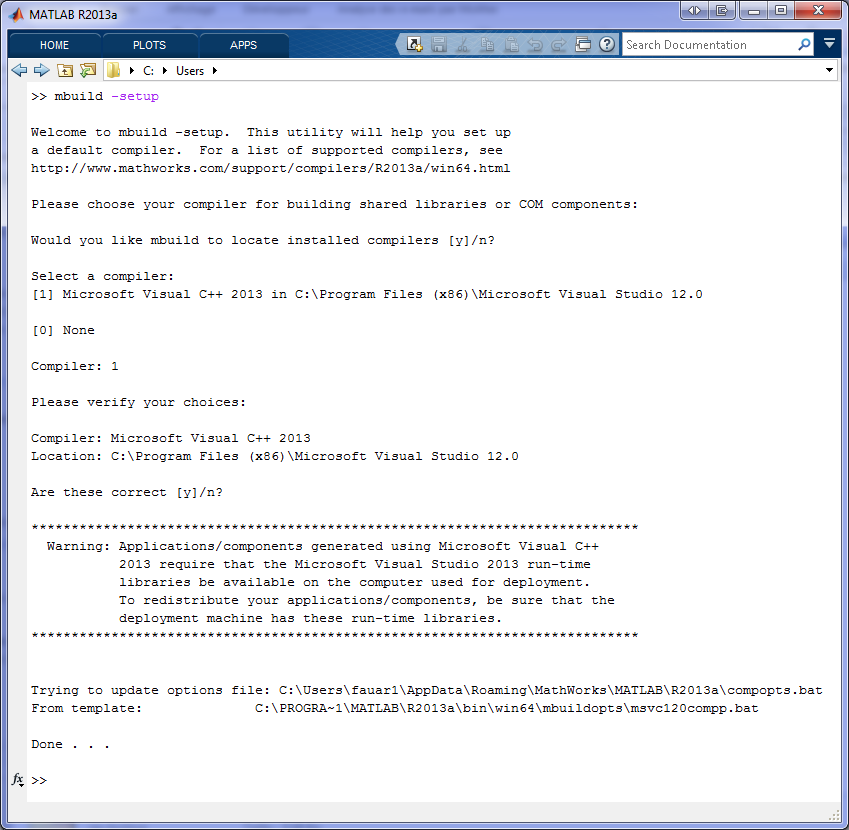 Visual Studio 2013 support for MATLAB Compiler Toolbox (x64) - File