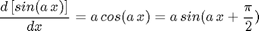 $$\frac{d\left[sin(a\, x)\right]}{dx}=a\, cos(a\, x)=a\, sin(a\, x+ \frac{\pi}{2})$$