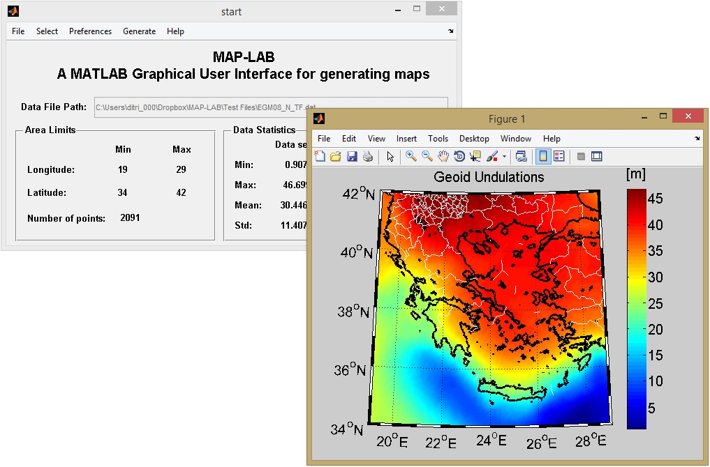MAP LAB: A MATLAB Graphical User Interface for generating maps