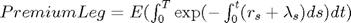 $Premium Leg =E(\int_0^T\exp(-\int_0^t(r_s+\lambda_s)ds)dt)$