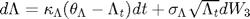 $d\Lambda = \kappa_{\Lambda}(\theta_{\Lambda}-\Lambda_t)dt + \sigma_{\Lambda}\sqrt{\Lambda_t}dW_3$
