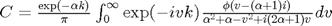 $C = \frac{\exp(-\alpha k)}{\pi}\int_0^{\infty}\exp(-ivk) \frac{\phi(v-(\alpha+1)i)}{\alpha^2+\alpha-v^2+i(2\alpha+1)v}dv$