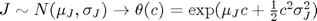 $J\sim N(\mu_J,\sigma_J)\to \theta(c)=\exp(\mu_Jc+\frac{1}{2}c^2\sigma_J^2)$