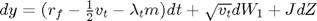 $dy = (r_f - \frac{1}{2}v_t - \lambda_t m)dt + \sqrt{v_t}dW_1 + JdZ$