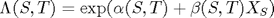 $\Lambda(S,T) = \exp(\alpha(S,T) + \beta(S,T)X_S)$