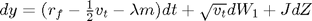 $dy = (r_f - \frac{1}{2}v_t-\lambda m)dt + \sqrt{v_t}dW_1 + JdZ$