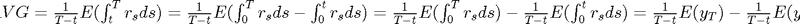 $AVG = \frac{1}{T-t}E(\int_t^Tr_sds)=\frac{1}{T-t}E(\int_0^Tr_sds-\int_0^tr_sds)=\frac{1}{T-t}E(\int_0^Tr_sds)-\frac{1}{T-t}E(\int_0^tr_sds) =\frac{1}{T-t}E(y_T)-\frac{1}{T-t}E(y_t)$