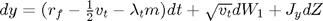 $dy=(r_f-\frac{1}{2}v_t-\lambda_t m)dt+\sqrt{v_t}dW_1+J_ydZ$