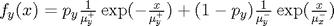$f_y(x)=p_y\frac{1}{\mu_y^{+}}\exp(-\frac{x}{\mu_y^{+}})+(1-p_y)\frac{1}{\mu_y^{-}}\exp(\frac{x}{\mu_x^{-}})$