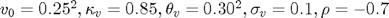 $v_0=0.25^2, \kappa_v=0.85,\theta_v=0.30^2,\sigma_v=0.1,\rho=-0.7$
