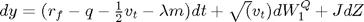 $dy=(r_f-q-\frac{1}{2}v_t-\lambda m)dt + \sqrt(v_t)dW_1^Q + JdZ$