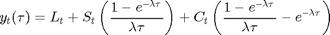 $$y_t(\tau) = L_t + S_t \left(\frac{1 - e^{-\lambda \tau}}{\lambda \tau} \right) + C_t \left(\frac{1 - e^{-\lambda \tau}}{\lambda \tau} - e^{-\lambda \tau} \right)$$