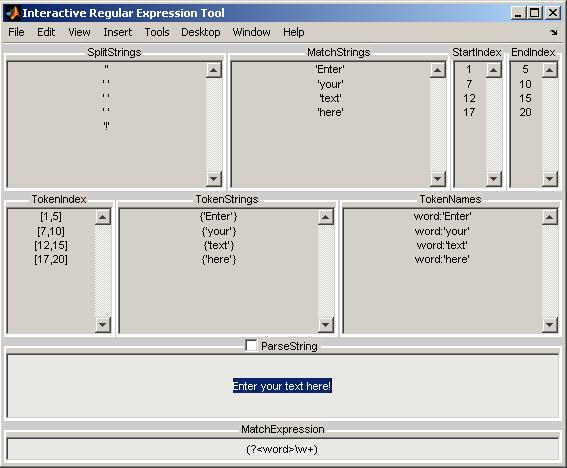 Interactive Regular Expression Tool - File Exchange - MATLAB