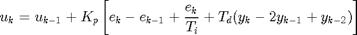 $$u_{k} = u_{k-1} + K_p \left[ e_k - e_{k-1} + \frac{e_k}{T_i} + T_d(y_k-2y_{k-1}+y_{k-2})\right]$$