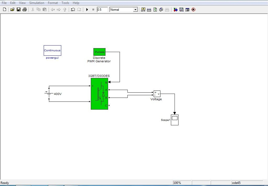 DC to AC inverter by using Universal Bridge IGBT/Diodes