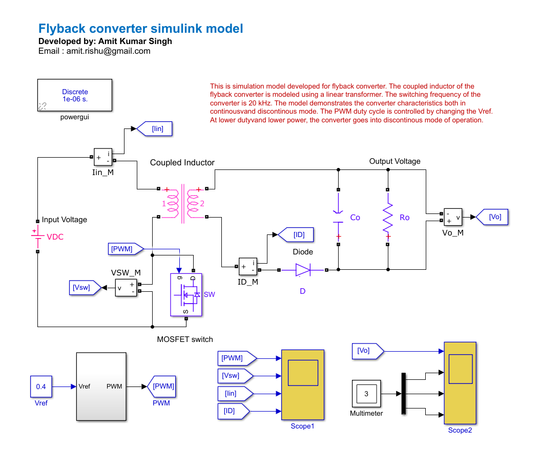 Flyback Converter - File Exchange - MATLAB Central