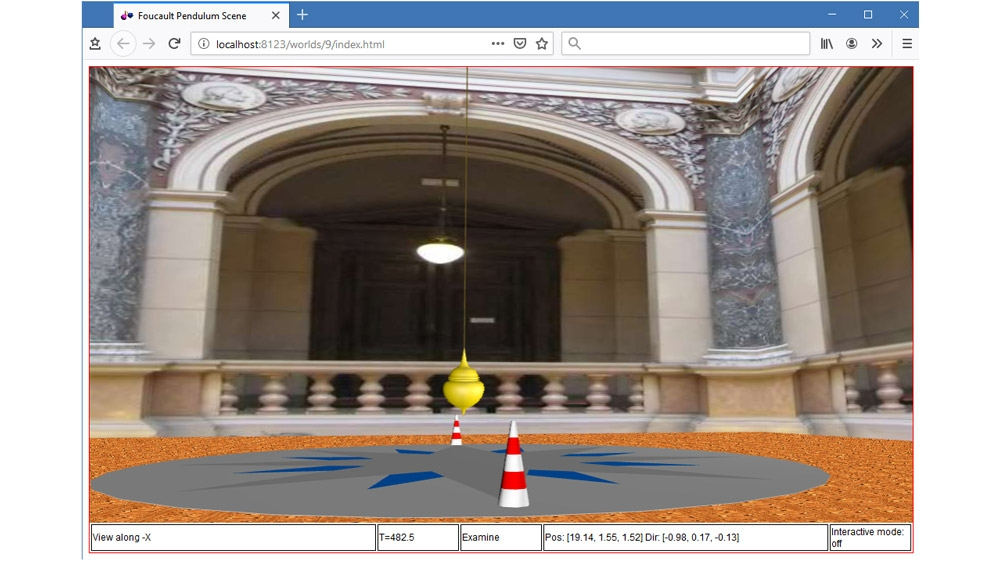 3D animation of a Foucault pendulum in an HTML5-enabled browser.