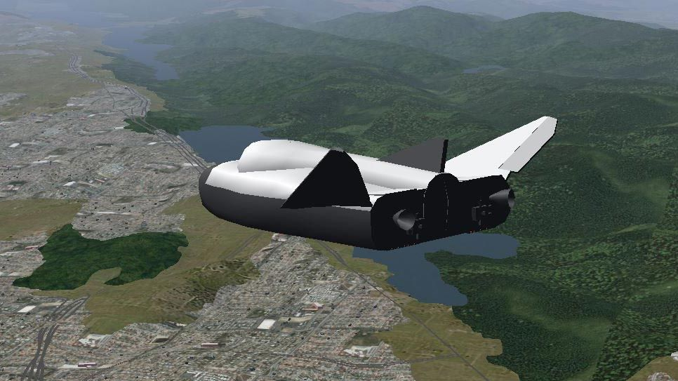 Visualization of an aircraft modeled in Simulink using the FlightGear interface.